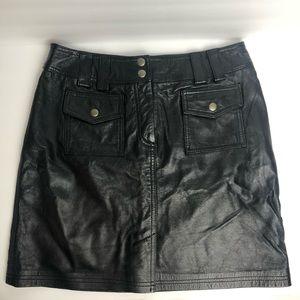 INC black leather skirt size 6